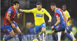 Newcastle Uniteds goalscorer Yohan Cabaye centre Crystal Palace at Selhurst Park