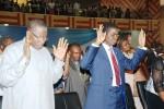 President Goodluck Jonathan  and Bishop David  Abioye,  Bishop of Living Faith Church (AKA) Winners Chapel Goshen near keffi Nasarawa  State  at the Church Service