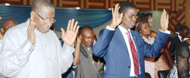 Photo News:President Goodluck in Living Faith Church