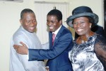 President Goodluck Jonathan  left, been Welcome by  Bishop  David Abioye and wife Pastor  Mary Abioye to the Living Faith Church( AKA) Winners Chapel  Goshen, Near Keffi Nasarawa State