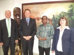 Country Director, Deutsche Fur Internationale Zusammenarbeit (GIZ), Dr. Thomas Kirsch,  Head of Component,  (GIZ), Alezander Werth, Honourable Minister of Industry, Trade and Investment,  Olusegun Aganga, German Ambassador to Nigeria, Her Excellency,  Dorothee Janetzke-Wenzel during a courtesy call to the Ministry Headquarters, Abuja