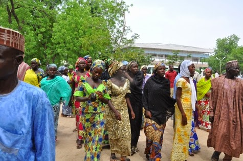 SOME OF THE ESCAPED CHIBOK SCHOOL GIRLS AND THEIR PARENTS AT GOVERNMENT HOUSE, MAIDUGURI, YESTERDAY