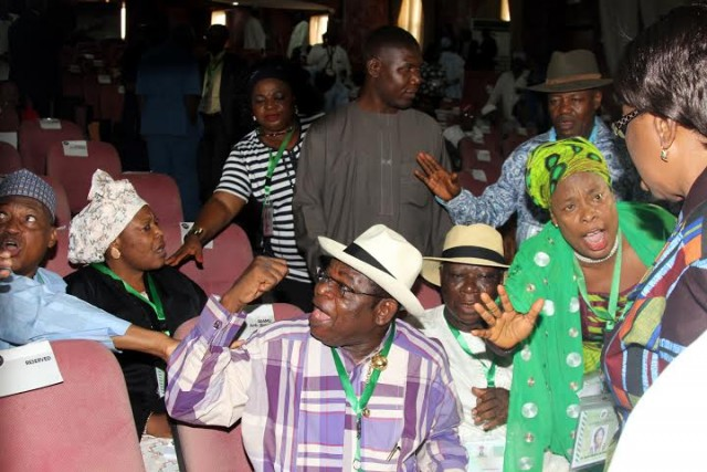 DELEGATES DURING THE HEATED DEBATE ON THE CONTROVERSIAL REVENUE SHARING FORMULA AT THE NATIONAL CONFERENCE IN ABUJA THURSDAY