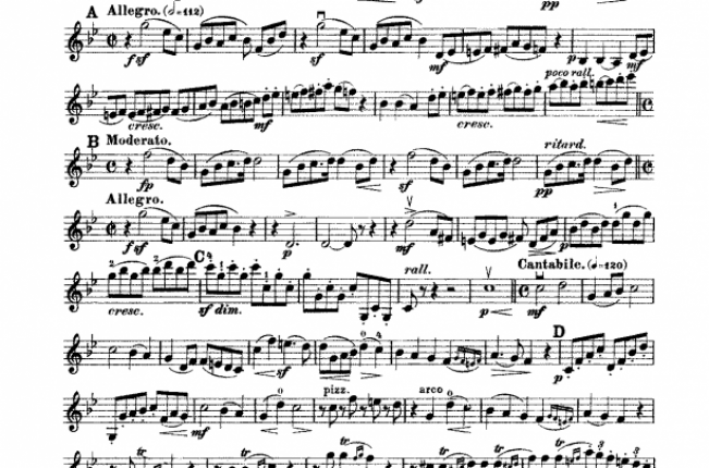First page of the manuscript of String Quartet No.1 by Alfred Hill