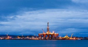 Oil rigs North Sea oil Scotland UK