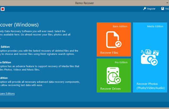 Remo Recover Windows Media Edition dashboard