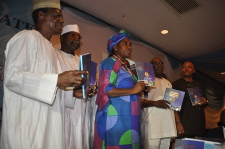 The Hon. Minister of Water Resources, Mrs. Sarah Reng Ochekpe presenting her four years achievements in Ministry of Water Resources in Abuja on Monday 25th May 2015 with her are the Chairmen of Board River Basin Development Authorities.