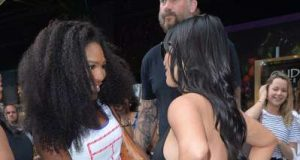ACF  Bump watch Kim ran into her old friend Serena Williams who could a