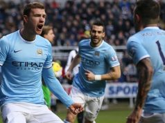 Dzeko Celebrates Goal vs Newcastle AFP