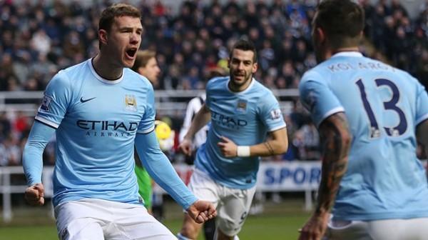 Dzeko Celebrates Goal vs Newcastle AFP