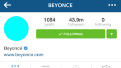Pop star, Beyonce's instagram page