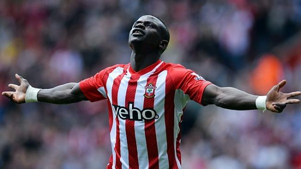Sadio Mane celebrates after Scoring the Fastest Ever Hat-Trick in Premier League History. Image: Getty.