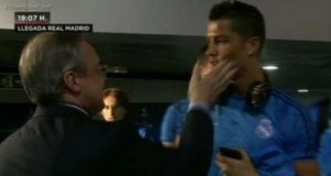 Madrid President Caught Slapping Cristiano Ronaldo For Hinting At Madrid Exit
