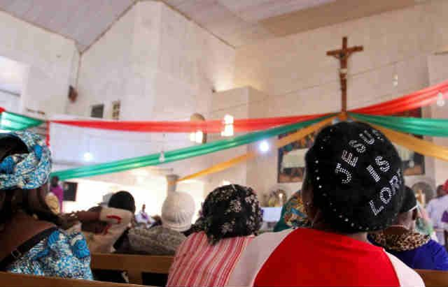 Cross Section Nigerian Christians In A Church