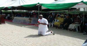 Governor Fayose during prayer session at governor office Ado Ekiti