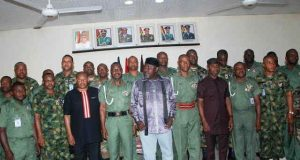 Governor Rochas Okorocha with some of the officers of the Nigerian Army at the  Field Artillery Brigade Obinze