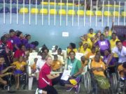 Participants at Charity Netball Tournament Themed Giving is a Team Effort and Representatives from the Family Vocational Institute for the Disabled