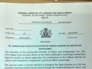 Nigeria Ministry of Labour on Fake CV Collection