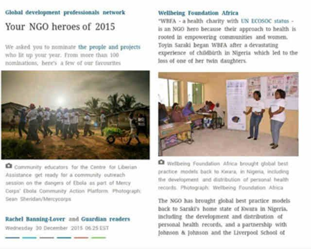 The Guardian UK honours Wellbeing Foundation Africa