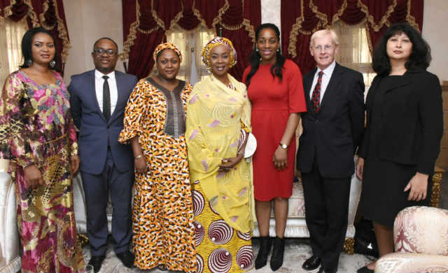 L-R Mrs Florence Anyanwu, Dr Luther-King Fasehun, Hajiya Mairo Usman, Her Excellency Mrs Toyin Saraki Founder-President Wellbeing Foundation Africa, Hon Kate Osamor MP, Sir Richard Gozney Former British Ambassador to Nigeria and Mrs Dawn Spetale