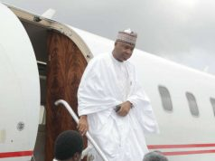 Senator Bukola Saraki alighting from plane