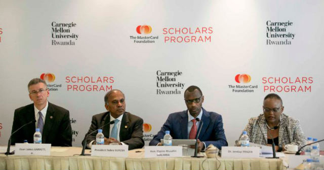 Front left to right: James Garrett, Jr., Carnegie Mellon University, Dean of Engineering; Subra Suresh, Carnegie Mellon University; President Hon. Papias Musafiri Malimba, Government of Rwanda, Minister of Education and Jendayi Frazer, The MasterCard Foundation, Board of Directors