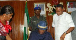 Ebonyi State Governor David Umahi Signing Bills
