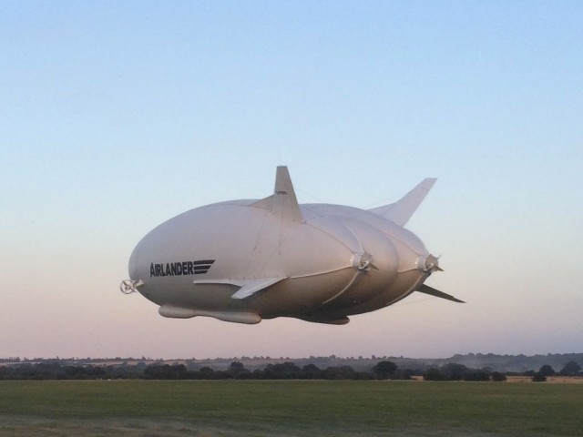 The Airlander 10, the world's largest aircraft, made its first flight on Aug. 17, 2016. Credit: Hybrid Air Vehicles