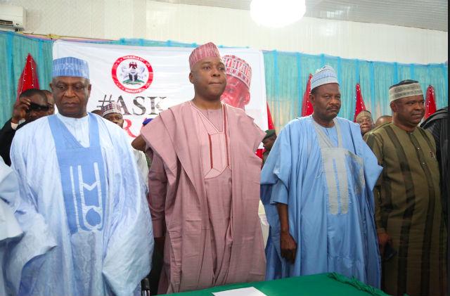 Alhaji Kawu Baraje, Former PDP National Chairman; Senate President, Dr. Abubakar Bukola Saraki; Hon. Balogun Fulani, APC Kwara State Chairman