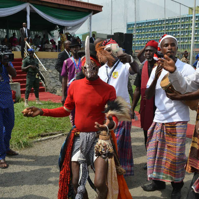 A masquerade at the venue of the 2016 Ebonyi Cultural Day celebration in Lagos on Friday, 18th November, 2016