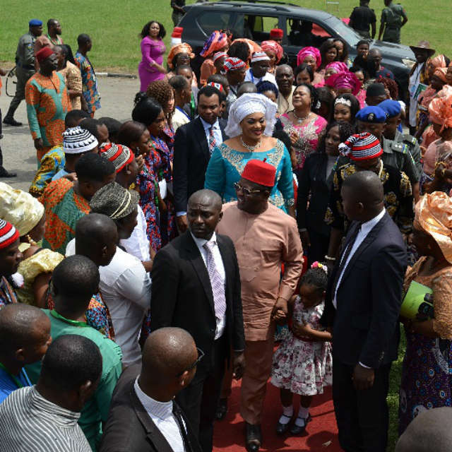 Ebonyi State Governor David Umahi (in eye glasses)  and his wife Rachel Umahi (wearing while head gear) on arrival at the National Stadium in Surulere, Lagos  venue of the 2016 Ebonyi Culural Day celebration on Friday, 18th November, 2016