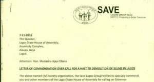 Save Lagos Group Lauds Lagos Assembly Over Call Banning Demolition Of Slums