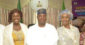 Toyin Saraki with Gimbiya Dogara and Senator Muhammad Umaru Jibrilla