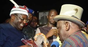 Governor David Umahi of Ebonyi State being conferred with a chieftancy title