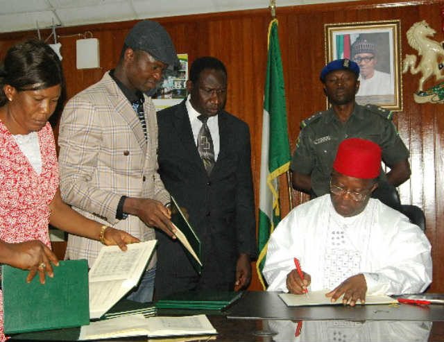 Governor David Umahi signing Ebonyi State Electoral and Related Matters Bill into law