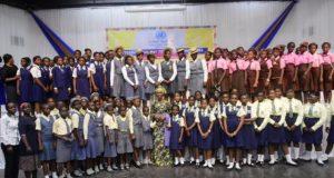 International Day Of The Girl Child HE Toyin Saraki With Girls In Lagos Nigeria