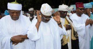 From left High Chief Lateef Oyelade Oyo State Governor Abiola Ajimobi and Aare Musulumi of Yorubaland Alhaji Dawud Makanjuola at the Agodi Ibadan Eid el prayer ground