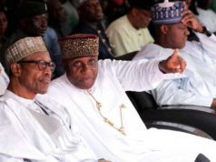 RT Hon Chibuike Rotimi Amaechi pointing to President Muhammadu Buhari that Nigeria will be great