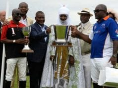 Access Bank Polo Day Emir of Kano Mohammed Sanusi II middle joined by the winning teams at the  Access Bank polo challenge in Windsor UK