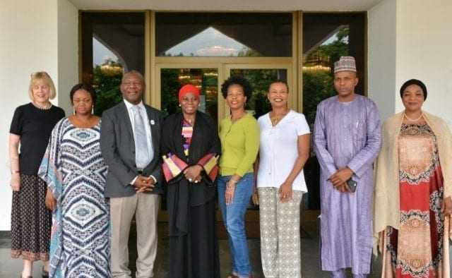 Dr. Hajo Sani (4th left), Prof. Ernest Uwazie (3rd left), DG African First Ladies Peace Mission, Mrs. Beatrice Bassey (2nd left), Robin Carter, Marlyn Jones (3rd, 4th right), Betsy Kimball (1st left) all of CSUS. Hadi Uba Special Assistant to the President and Hadiza Abba, an aide to the wife of the President