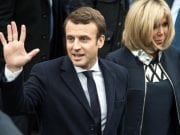 French President Emmanuel Macron and wife