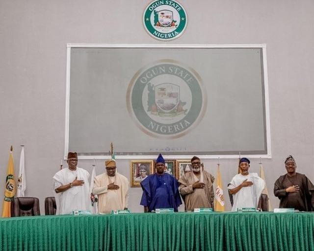 Southwest Governors Forum featuring Ekiti Governor Ayodele Fayose, Lagos Governor Akinwunmi Ambode, Ogun Governor Ibikunle Amosun, Ondo Governor Rotimi Akeredolu, Osun Governor Rauf Aregbesola, and Oyo Governor Abiola Ajimobi
