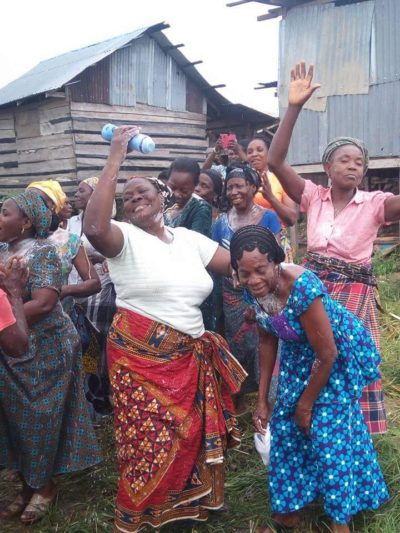 Happy Women of Amassoma celebrating Floating Toilet