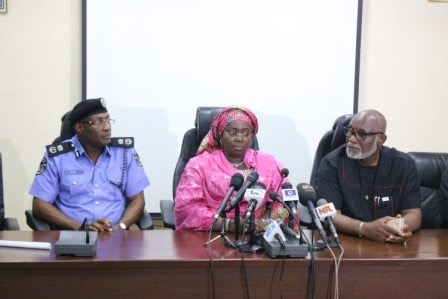 Lagos Commissioner of Police Owoseni, Lagos Deputy Governor Oluranti Adebule and Ondo State Governor Rotimi Akeredolu at the briefing