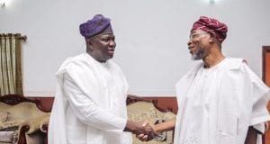 Lagos State Governor Akinwunmi Ambode shaking hand with Osun State Governor Rauf Aregbesola