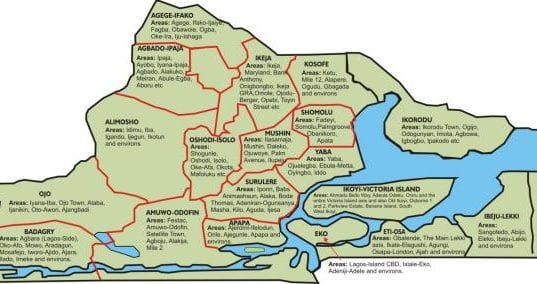 Lagos State Map with Local Government Areas