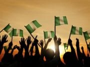 Nigeria and Nigerians People Waving Nigerian Flags