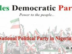 Peoples Democratic Party PDP National Executive Committee mask head with Ahmed Makarfi
