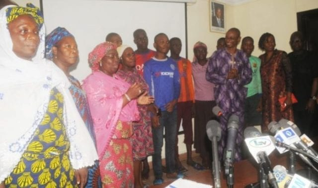 Rescued Students of Igbonla Model College, Epe with some Parents, Lagos State Deputy Governor Oluranti Adebule, Others