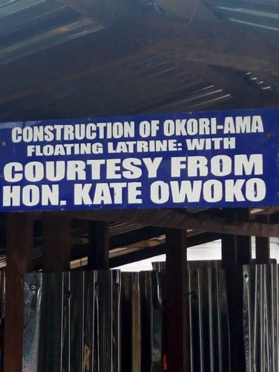 Signboard at the site of Okori Ama Floating Toilet Latrine courtesy of Hon Kate Owoko